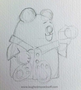 Children's illustration of teddy bear, how to step 1