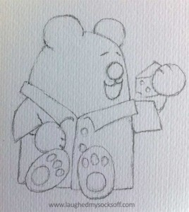 Children's illustration of teddy bear, how to step 2