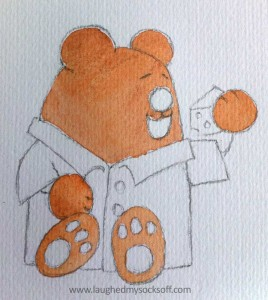Children's illustration of teddy bear, how to step 3 - watercolour paints