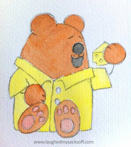 Children's illustration of teddy bear, how to step 4 watercolour painting